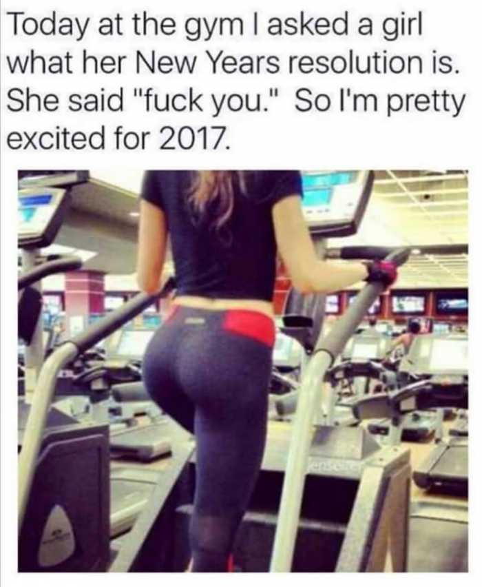 funny happy new year memes - at the gym