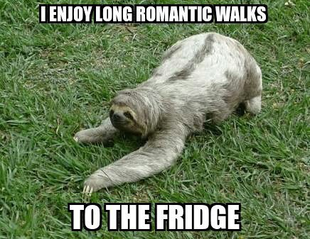 I enjoy long romantic walks to the fridge